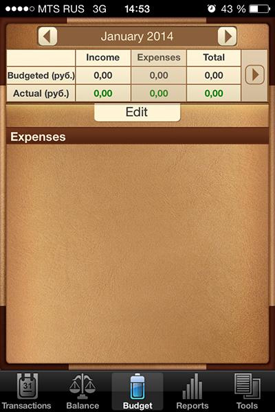 Бюджетирование на месяц