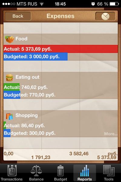 Отчет по трем статьям: питание, расходы на обеды, покупки